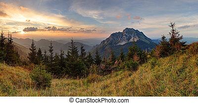 panorâmico, montanha, outono, pôr do sol, paisagem, rozsutec