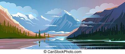 panorâmico, natureza, montanha, noite, paisagem., paisagem, vista, natural, bonito