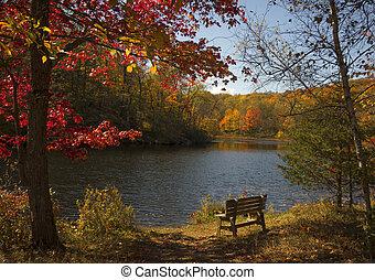 panorâmico, outono, lago