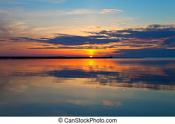 panorâmico, pôr do sol, mar