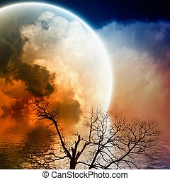 panorâmico, paisagem, noturna