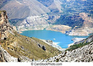 panorâmico, parque, lago, nevada sierra, espanha