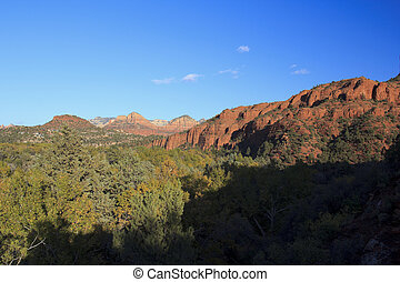 panorâmico, pedra vermelha, paisagem