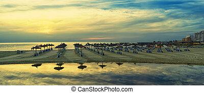 panorâmico, praia, mallorca, amanhecer