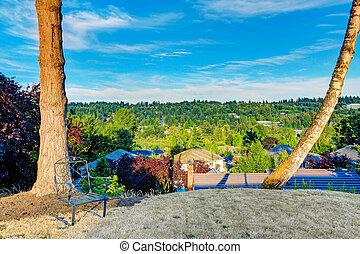 panorâmico, quintal, vista, área repouso