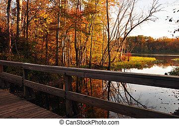 panorâmico, rastro, ponte
