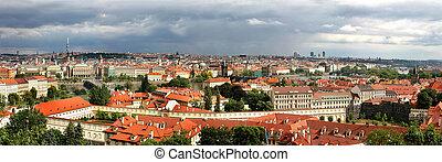 panorâmico,  Skyline, aéreo, Praga, vista