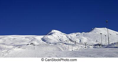 panorâmico, sol, recurso, esqui, dia, vista