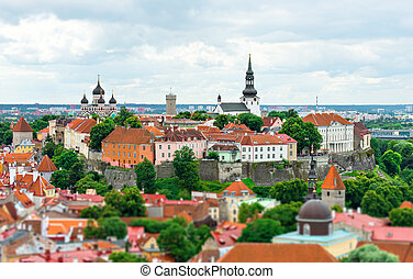 panorâmico, tallinn, antigas, estonia., vista