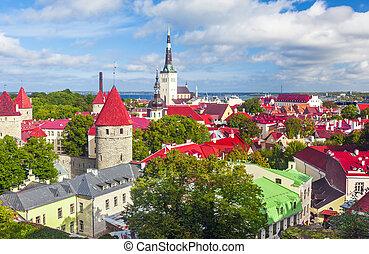 panorâmico, tallinn, verão, aéreo, panorama, estónia
