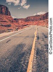 panorâmico, utah, deserto, estrada