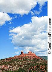 panorâmico, vermelho, arenito, paisagem, arizona, eua