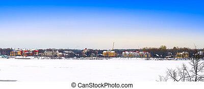 panorâmico, vista, Inverno, vila