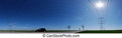 panorama, électrique, réseau