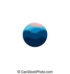 panorama., 색, 추상적인 형체, 조경술을 써서 녹화하다, 파랑, 실루엣, 고립된, 환경, logotype., logo., 산, 자연, 나무, 황혼, 봄 안개가 덮인, 제자리표, illustration., 벡터, 야생의, icon., 둥근