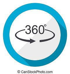 Panorama 360 blue flat design web icon
