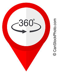 Panorama 360 red web pointer icon. Webdesign button on white...