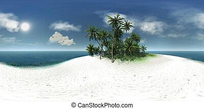 panorama 360, sea, tropical island, palm trees, sun