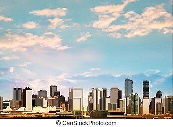 panorama, abstrakcyjny, vancouver, tło