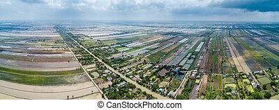 panorama aerial view of rice field