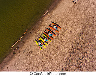 Panorama aerial view on the beach, catamarans, water bicycle