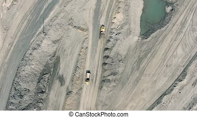 Panorama aerial view shot, open pit mine, coal mining,...