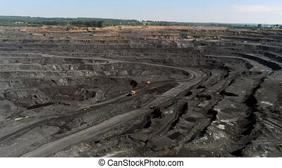 Panorama aerial view shot open pit mine coal mining,...