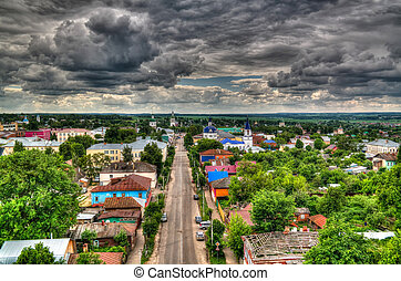 Panorama aerial view to Zaraysk from Old water tower , Moscow region, Russia