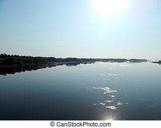 Panorama and landscape of the river on a boat