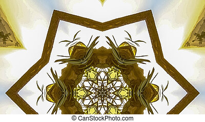 Panorama Angular hexagonal star made from the wood of a Chuppah