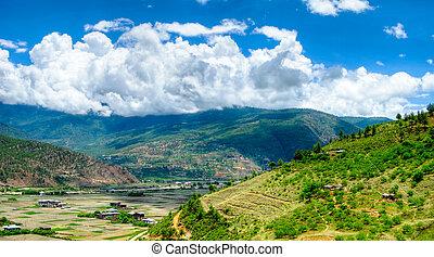 panorama, ansicht, zu, paro, tal, bhutan