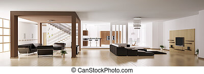 panorama, apartamento, 3d