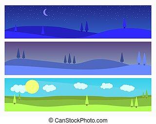 panorama., arbres, ensemble, style, naturel, landscapes:, crépuscule, plat, vecteur, matin, paysage, night., illustration