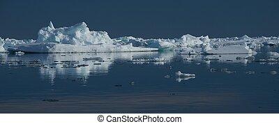 panorama, arktisch, see eis, wasserlandschaft