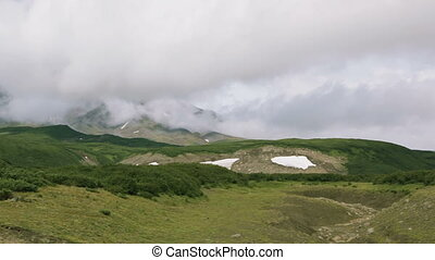 Panorama at foot of volcano Avachinskaya group stock footage...