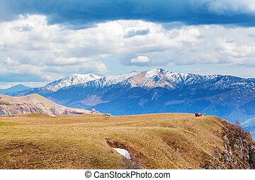 Panorama at the Georgia Mountains near Gudauri. Caucasus...