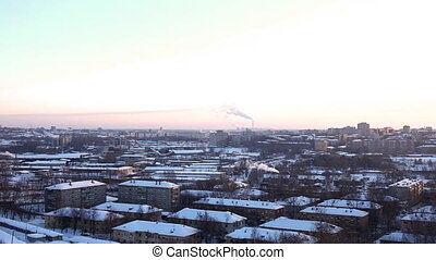 Panorama at winter city and termal power station