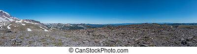 Panorama Atop Burroughs Mountain on perimeter of Mount Rainier