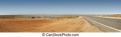 panorama, australiano interior, camino