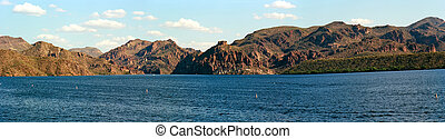 Panorama Autumn at Saguaro lake in Arizona
