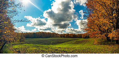 Panorama. Autumn in the mountains