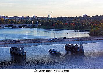 panorama, autumn., washington dc, tôt, rivière potomac