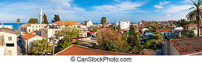 panorama, av, gammal, town., taktopp, utsikt., larnaca.,...