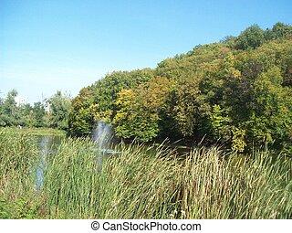panorama, av, lakes, rivers, och, vatten