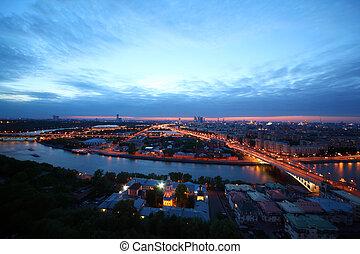 panorama, av, moskva, och, novoandreevsky, bridge;, luzhniki, stadion, och, moskva, stad, komplex