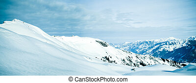 panorama, av, snö, mountain., vinter, in, den, schweizisk, alps.