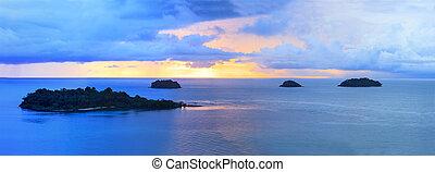 panorama, av, sunuppsättning, sky, hos, koh chang, ö, trat, landskap, import