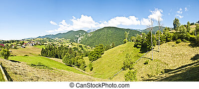 Panorama background in Carpathians. Beautiful mountains and...