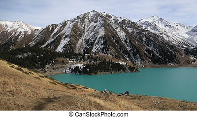 Panorama background of fairy amaizing beautifull nature lake landscape high in the mountains