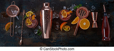 Panorama banner for alcoholic cocktails or bar